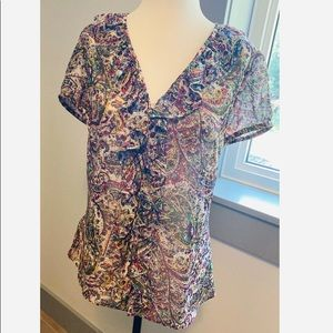 🐦2/30 Loft ruffled shirt sleeve blouse size small